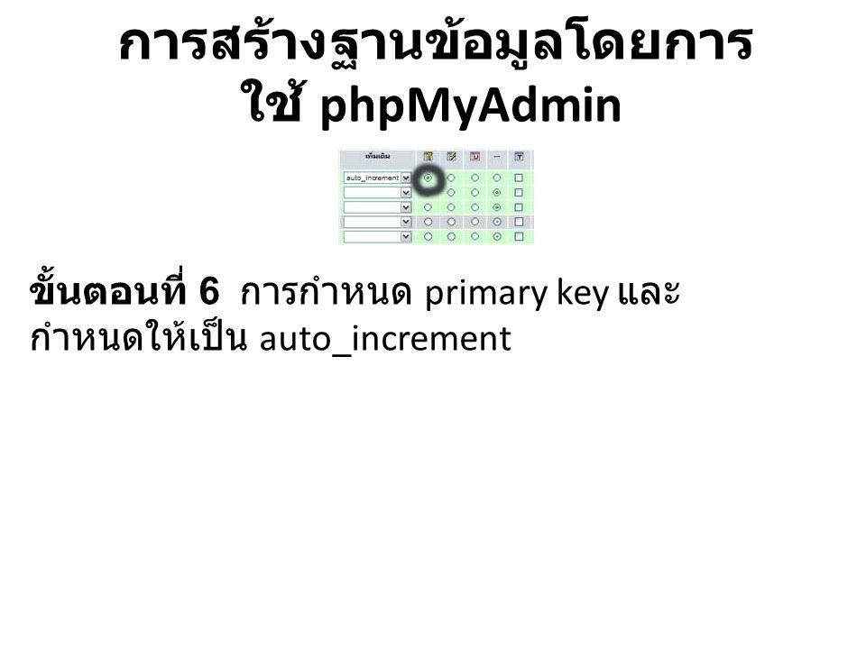 การสร้างฐานข้อมูลโดยการ ใช้ phpMyAdmin เมื่อกำหนดค่าต่างๆของฐานข้อมูลตาราง customer กดปุ่ม บันทึก หรือ ถ้าหากต้องการเพิ่ม field ก็ สามารถ กดที่ ลงมือ ดังภาพ
