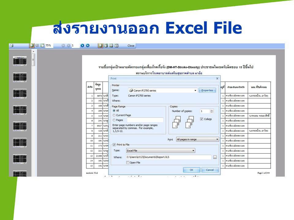ส่งรายงานออก Excel File