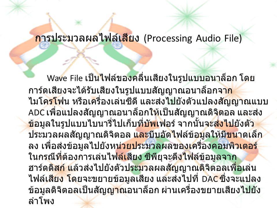 การประมวลผลไฟล์เสียง (Processing Audio File) Wave File เป็นไฟล์ของคลื่นเสียงในรูปแบบอนาล็อก โดย การ์ดเสียงจะได้รับเสียงในรูปแบบสัญญาณอนาล็อกจาก ไมโครโ