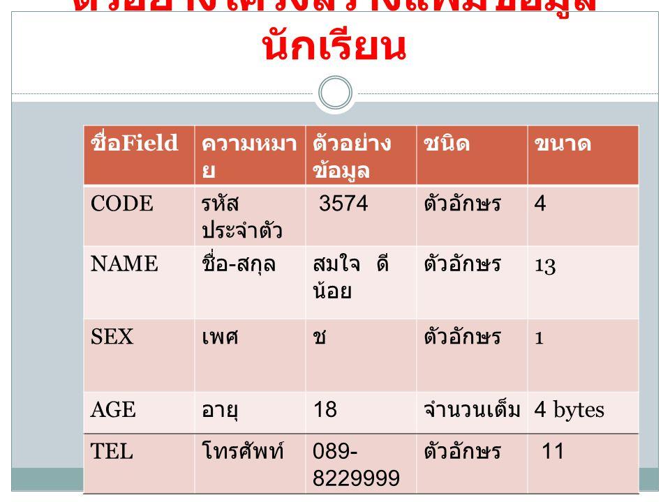 ตัวอย่างโครงสร้างแฟ้มข้อมูล นักเรียน ชื่อ Field ความหมา ย ตัวอย่าง ข้อมูล ชนิดขนาด CODE รหัส ประจำตัว 3574 ตัวอักษร 4 NAME ชื่อ - สกุลสมใจ ดี น้อย ตัว