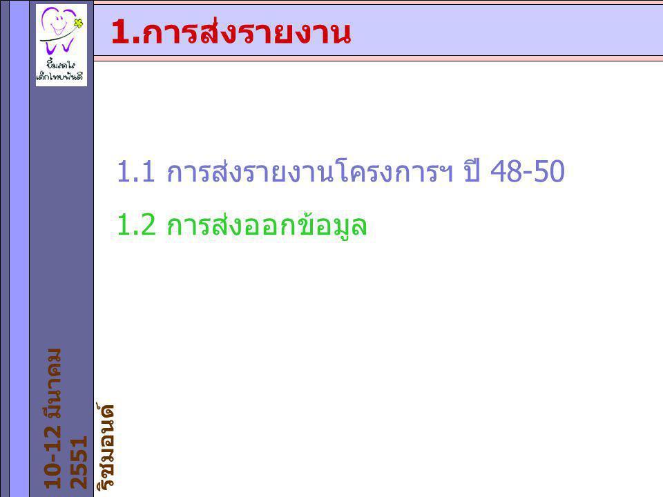 1.การส่งรายงาน 1.1 การส่งรายงานโครงการฯ ปี 48-50 1.2 การส่งออกข้อมูล 10-12 มีนาคม 2551 ริชมอนด์