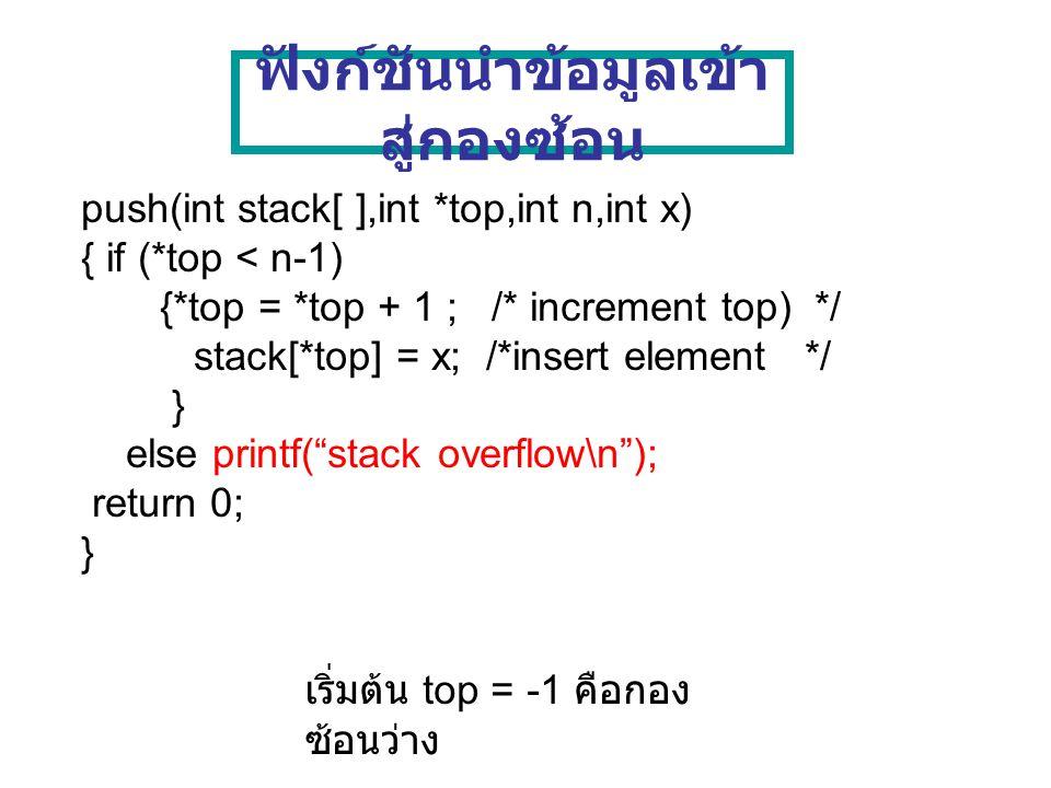 ฟังก์ชันนำข้อมูลออก จากกองซ้อน pop(int stack[ ],int *top,int *x) { if (*top >= 0) { *x = stack[*top]; /* delete element */ *top = *top -1 ; /*decrement top */ } else printf( stack underflow \n ); return 0; }