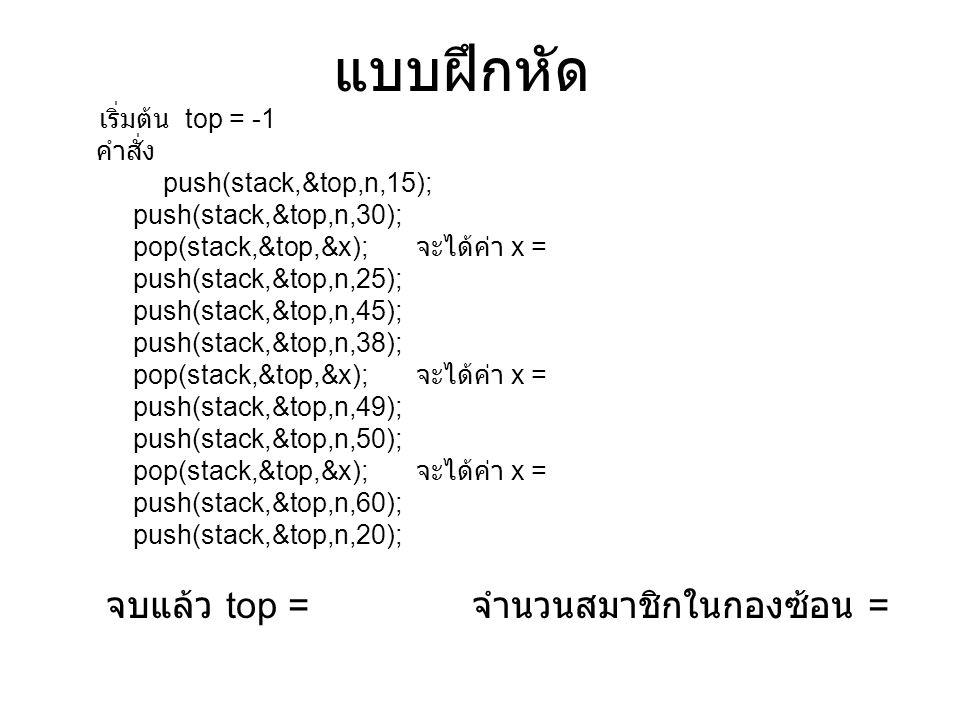 การประยุกต์ กองซ้อน จากจุด A ไปจุด B : push A จากจุด B ไปจุด C : push B จากจุด C ไปจุด D : push C จากจุด D ไปจุด E : push D pop : กลับไปจุด D pop : กลับไปจุด C pop : กลับไปจุด B pop : กลับไปจุด A การเก็บลำดับเพื่อการ ย้อนกลับ C A D G B H I F E
