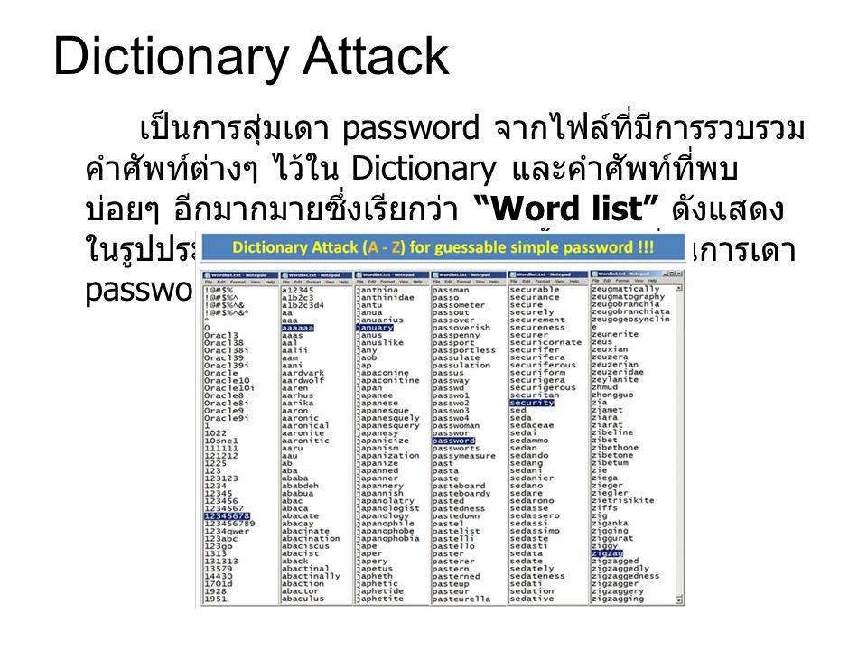 Dictionary Attack เป็นการสุ่มเดา password จากไฟล์ที่มีการรวบรวม คำศัพท์ต่างๆ ไว้ใน Dictionary และคำศัพท์ที่พบ บ่อยๆ อีกมากมายซึ่งเรียกว่า Word list ดังแสดง ในรูปประกอบ โดยโปรแกรมเหล่านี้มีความถี่ในการเดา password อย่างน้อย 1 ล้านคำต่อวินาที