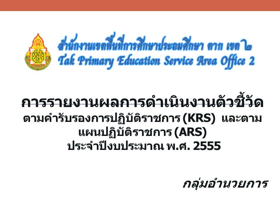 การรายงานผลการดำเนินงานตัวชี้วัด ตามคำรับรองการปฏิบัติราชการ (KRS) และตาม แผนปฏิบัติราชการ (ARS) ประจำปีงบประมาณ พ. ศ. 2555 กลุ่มอำนวยการ