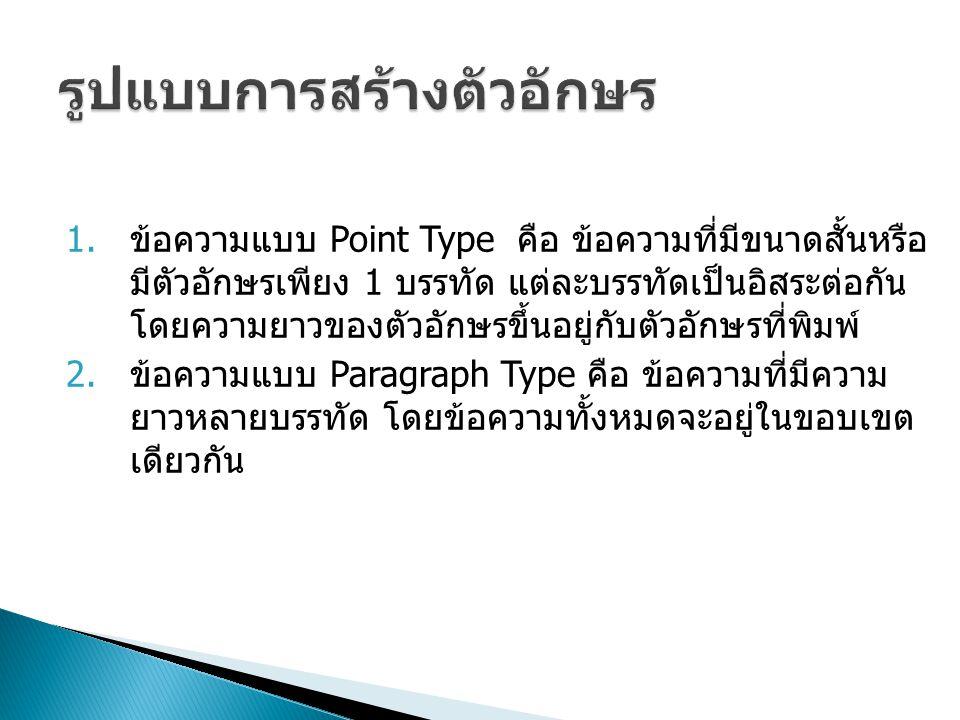 ข้อความแบบ Point Type คือ ข้อความที่มีขนาดสั้นหรือ มีตัวอักษรเพียง 1 บรรทัด แต่ละบรรทัดเป็นอิสระต่อกัน โดยความยาวของตัวอักษรขึ้นอยู่กับตัวอักษรที่พ