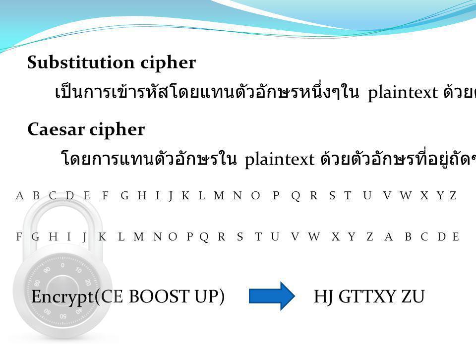 Substitution cipher เป็นการเข้ารหัสโดยแทนตัวอักษรหนึ่งๆใน plaintext ด้วยตัวอักษรอีกตัวหนึ่ง Caesar cipher โดยการแทนตัวอักษรใน plaintext ด้วยตัวอักษรที