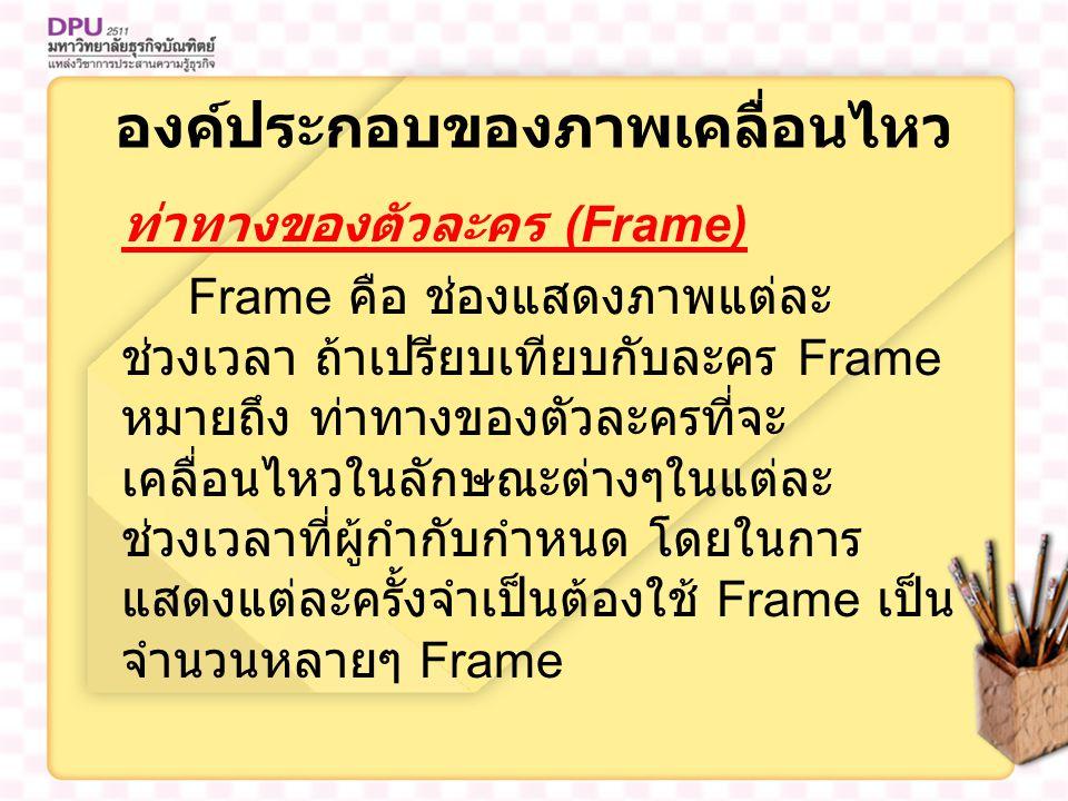 องค์ประกอบของภาพเคลื่อนไหว ท่าทางของตัวละคร (Frame) Frame คือ ช่องแสดงภาพแต่ละ ช่วงเวลา ถ้าเปรียบเทียบกับละคร Frame หมายถึง ท่าทางของตัวละครที่จะ เคลื่อนไหวในลักษณะต่างๆในแต่ละ ช่วงเวลาที่ผู้กำกับกำหนด โดยในการ แสดงแต่ละครั้งจำเป็นต้องใช้ Frame เป็น จำนวนหลายๆ Frame
