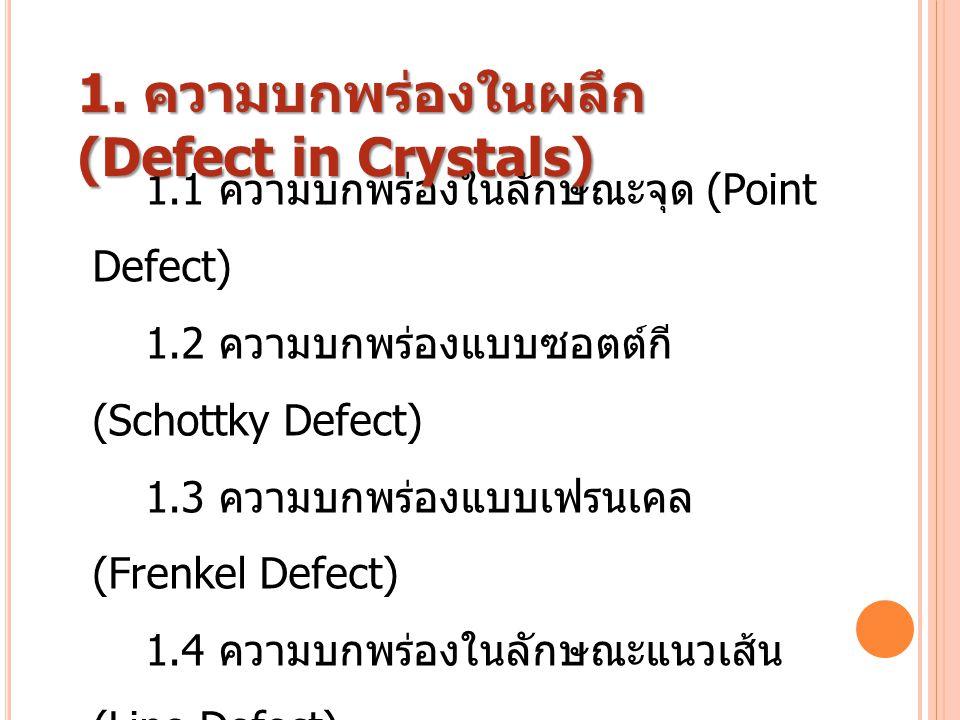 1.1 ความบกพร่องในลักษณะจุด (Point Defect) 1.2 ความบกพร่องแบบซอตต์กี (Schottky Defect) 1.3 ความบกพร่องแบบเฟรนเคล (Frenkel Defect) 1.4 ความบกพร่องในลักษ