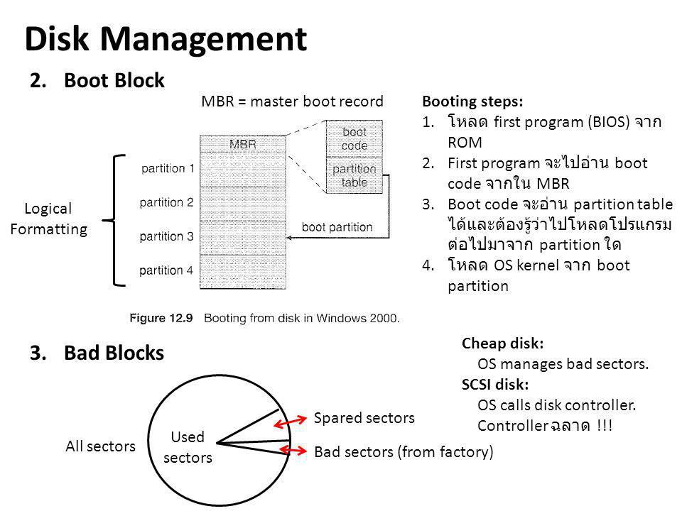 Disk Management 2.Boot Block 3.Bad Blocks Logical Formatting MBR = master boot record Booting steps: 1.