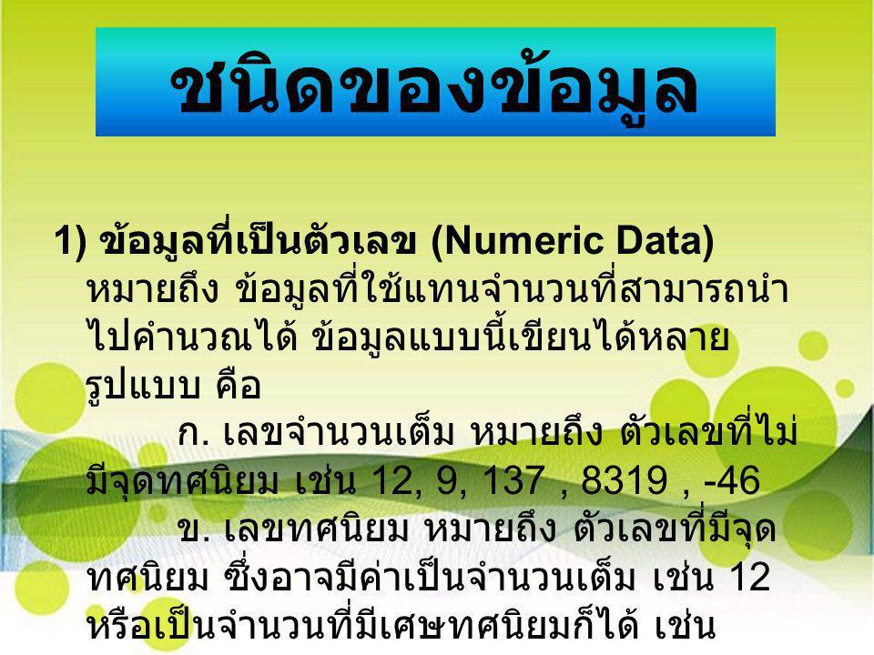 ชนิดของข้อมูล 1) ข้อมูลที่เป็นตัวเลข (Numeric Data) หมายถึง ข้อมูลที่ใช้แทนจำนวนที่สามารถนำ ไปคำนวณได้ ข้อมูลแบบนี้เขียนได้หลาย รูปแบบ คือ ก. เลขจำนวน