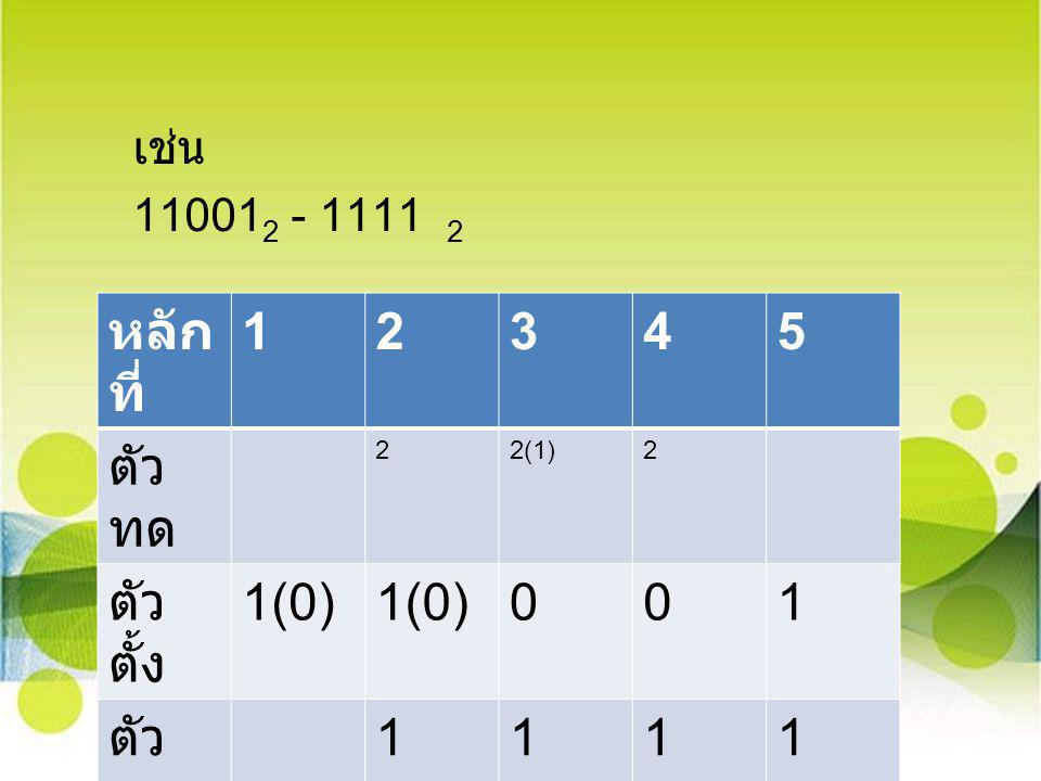 เช่น 11001 2 - 1111 2 หลัก ที่ 12345 ตัว ทด 22(1)2 ตัว ตั้ง 1(0) 001 ตัว ลบ 1111 ผลลั พธ์ 01010