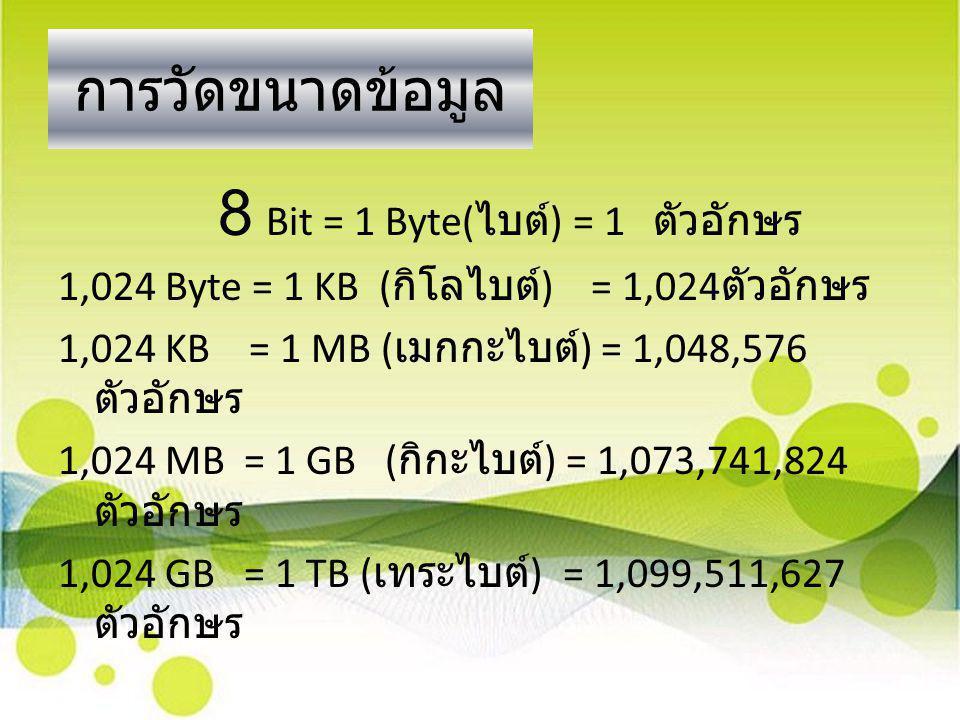 การวัดขนาดข้อมูล 8 Bit = 1 Byte( ไบต์ ) = 1 ตัวอักษร 1,024 Byte = 1 KB ( กิโลไบต์ ) = 1,024 ตัวอักษร 1,024 KB = 1 MB ( เมกกะไบต์ ) = 1,048,576 ตัวอักษ