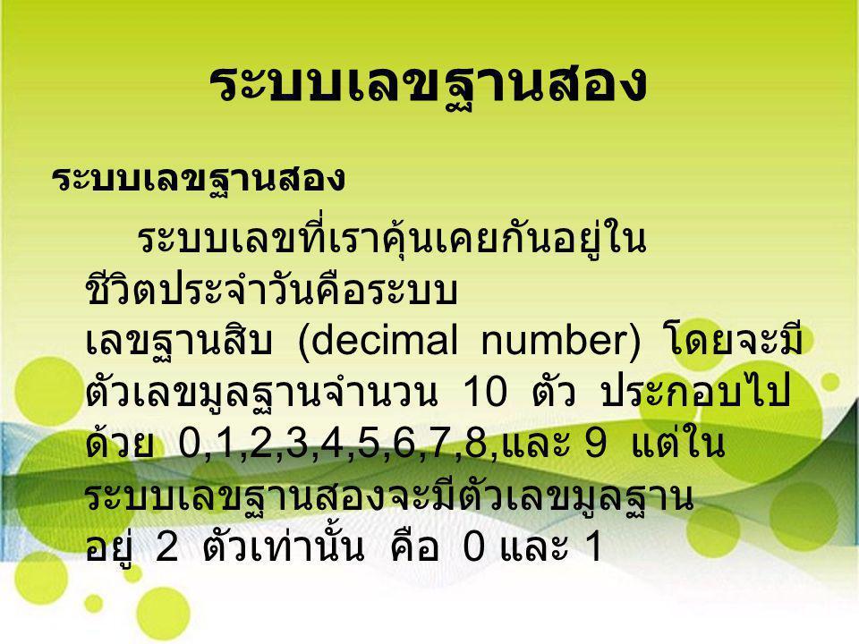 ระบบเลขฐานสอง ระบบเลขที่เราคุ้นเคยกันอยู่ใน ชีวิตประจําวันคือระบบ เลขฐานสิบ (decimal number) โดยจะมี ตัวเลขมูลฐานจํานวน 10 ตัว ประกอบไป ด้วย 0,1,2,3,4