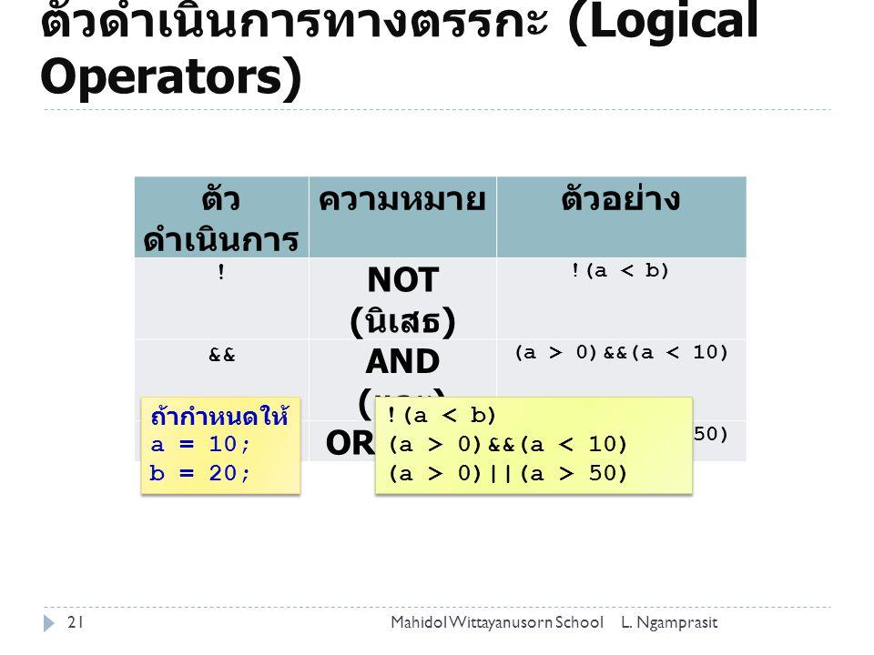ตัวดำเนินการทางตรรกะ (Logical Operators) 21 ตัว ดำเนินการ ความหมายตัวอย่าง .