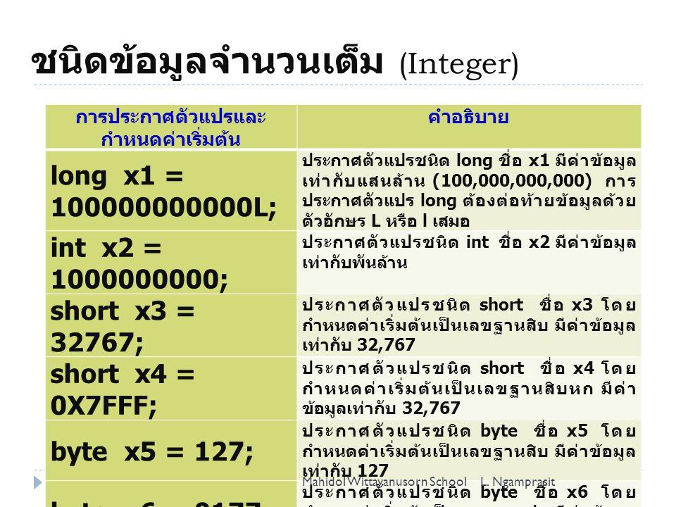 ชนิดข้อมูลจำนวนเต็ม (Integer) 4 การประกาศตัวแปรและ กำหนดค่าเริ่มต้น คำอธิบาย long x1 = 100000000000L; ประกาศตัวแปรชนิด long ชื่อ x1 มีค่าข้อมูล เท่ากับแสนล้าน (100,000,000,000) การ ประกาศตัวแปร long ต้องต่อท้ายข้อมูลด้วย ตัวอักษร L หรือ l เสมอ int x2 = 1000000000; ประกาศตัวแปรชนิด int ชื่อ x2 มีค่าข้อมูล เท่ากับพันล้าน short x3 = 32767; ประกาศตัวแปรชนิด short ชื่อ x3 โดย กำหนดค่าเริ่มต้นเป็นเลขฐานสิบ มีค่าข้อมูล เท่ากับ 32,767 short x4 = 0X7FFF; ประกาศตัวแปรชนิด short ชื่อ x4 โดย กำหนดค่าเริ่มต้นเป็นเลขฐานสิบหก มีค่า ข้อมูลเท่ากับ 32,767 byte x5 = 127; ประกาศตัวแปรชนิด byte ชื่อ x5 โดย กำหนดค่าเริ่มต้นเป็นเลขฐานสิบ มีค่าข้อมูล เท่ากับ 127 byte x6 = 0177; ประกาศตัวแปรชนิด byte ชื่อ x6 โดย กำหนดค่าเริ่มต้นเป็นเลขฐานแปด มีค่าข้อมูล เท่ากับ 127 L.