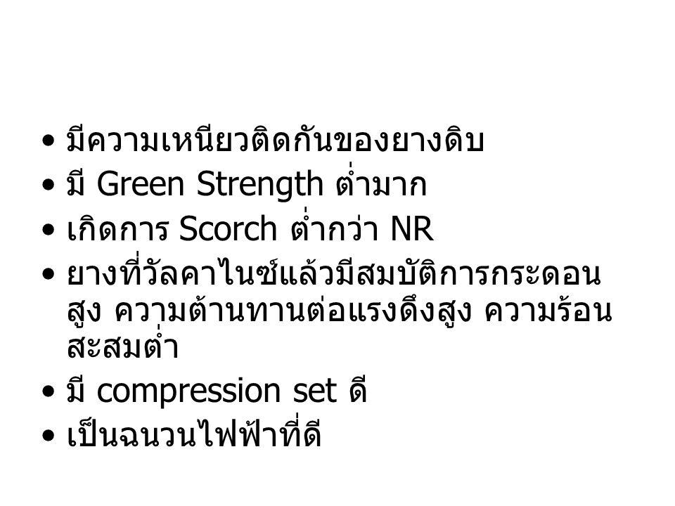 มีความเหนียวติดกันของยางดิบ มี Green Strength ต่ำมาก เกิดการ Scorch ต่ำกว่า NR ยางที่วัลคาไนซ์แล้วมีสมบัติการกระดอน สูง ความต้านทานต่อแรงดึงสูง ความร้
