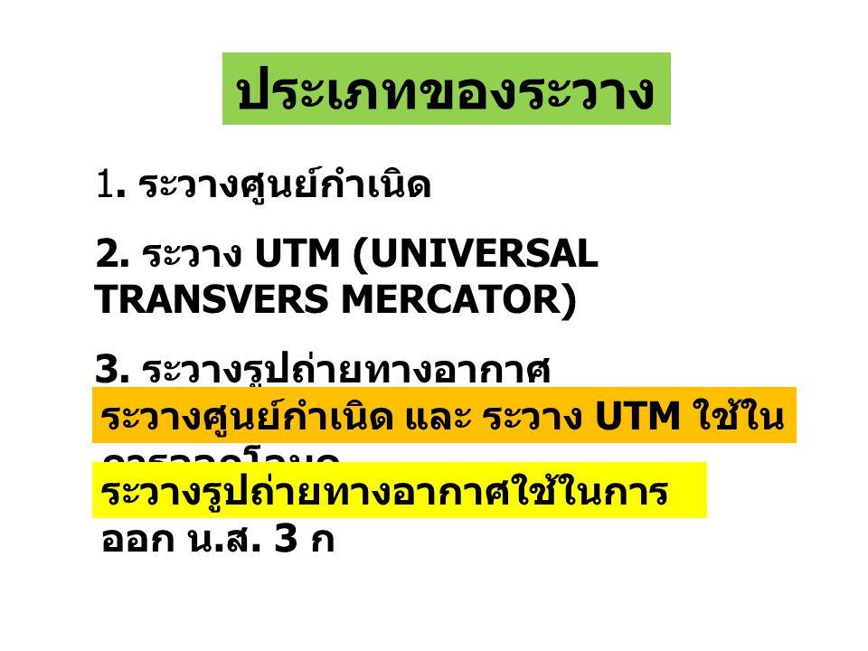 ประเภทของระวาง 1.ระวางศูนย์กำเนิด 2. ระวาง UTM (UNIVERSAL TRANSVERS MERCATOR) 3.