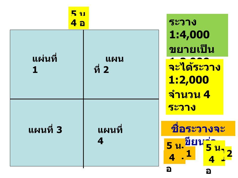 ระวาง 1:4,000 ขยายเป็น 1:2,000 จะได้ระวาง 1:2,000 จำนวน 4 ระวาง แผ่นที่ 1 แผน ที่ 2 แผนที่ 4 แผนที่ 3 5 น 4 อ ชื่อระวางจะ เขียนว่า 5 น 4อ 4อ } 1 4อ 4อ } 2