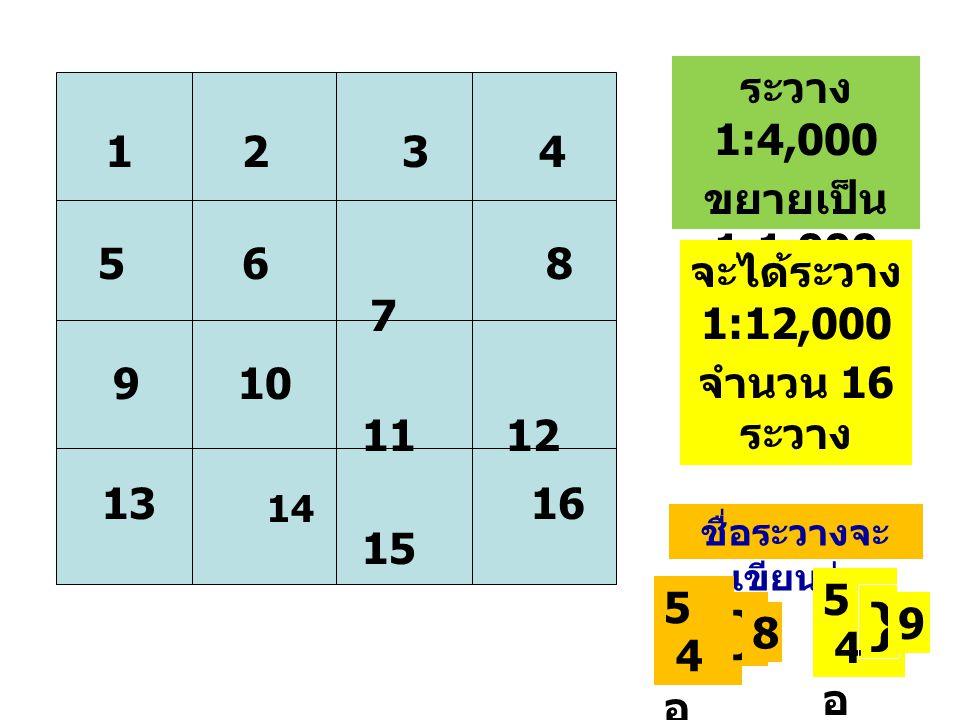 ระวาง 1:4,000 ขยายเป็น 1:2,000 จะได้ระวาง 1:2,000 จำนวน 4 ระวาง แผ่นที่ 1 แผน ที่ 2 แผนที่ 4 แผนที่ 3 5 น 4 อ ชื่อระวางจะ เขียนว่า 5 น 4อ 4อ } 1 4อ 4อ
