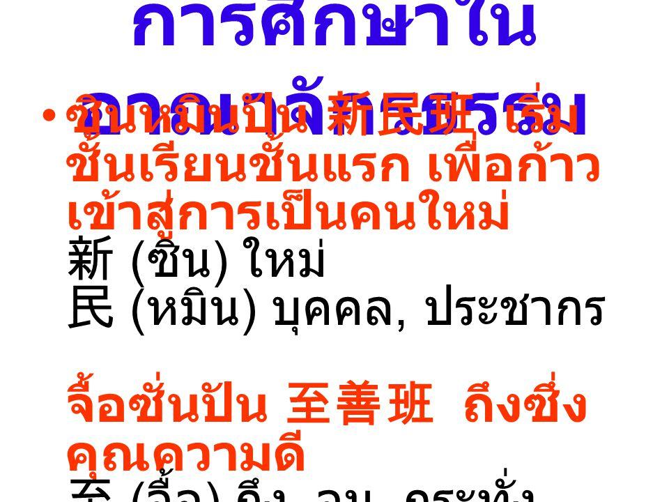 การศึกษาใน อาณาจักรธรรม ซินหมินปัน 新民班 เริ่ม ชั้นเรียนชั้นแรก เพื่อก้าว เข้าสู่การเป็นคนใหม่ 新 ( ซิน ) ใหม่ 民 ( หมิน ) บุคคล, ประชากร จื้อซั่นปัน 至善班