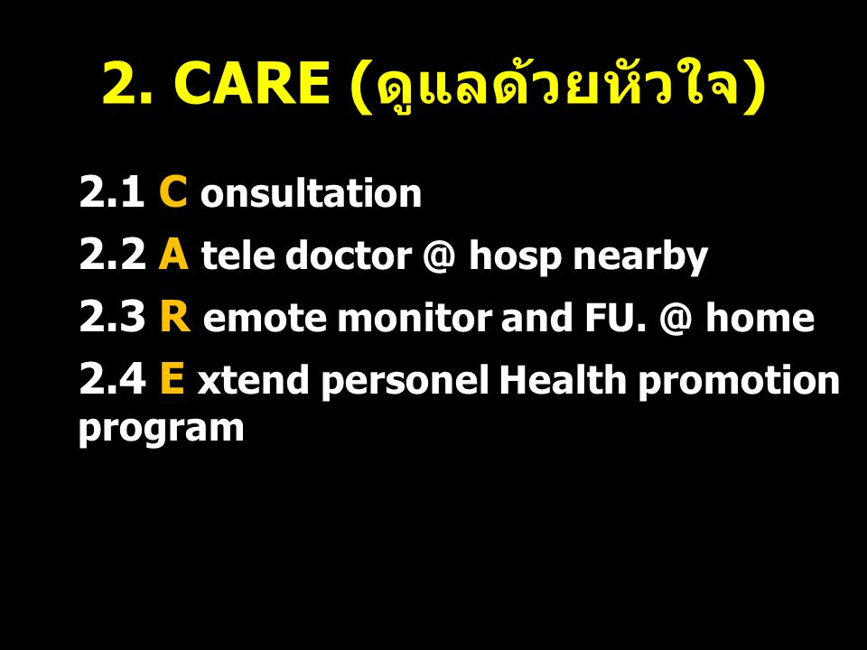 2.1 C onsultation 2.2 A tele doctor @ hosp nearby 2.3 R emote monitor and FU. @ home 2.4 E xtend personel Health promotion program 34