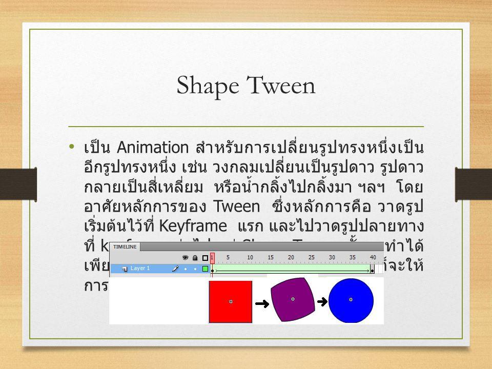 Shape Tween เป็น Animation สำหรับการเปลี่ยนรูปทรงหนึ่งเป็น อีกรูปทรงหนึ่ง เช่น วงกลมเปลี่ยนเป็นรูปดาว รูปดาว กลายเป็นสี่เหลี่ยม หรือน้ำกลิ้งไปกลิ้งมา
