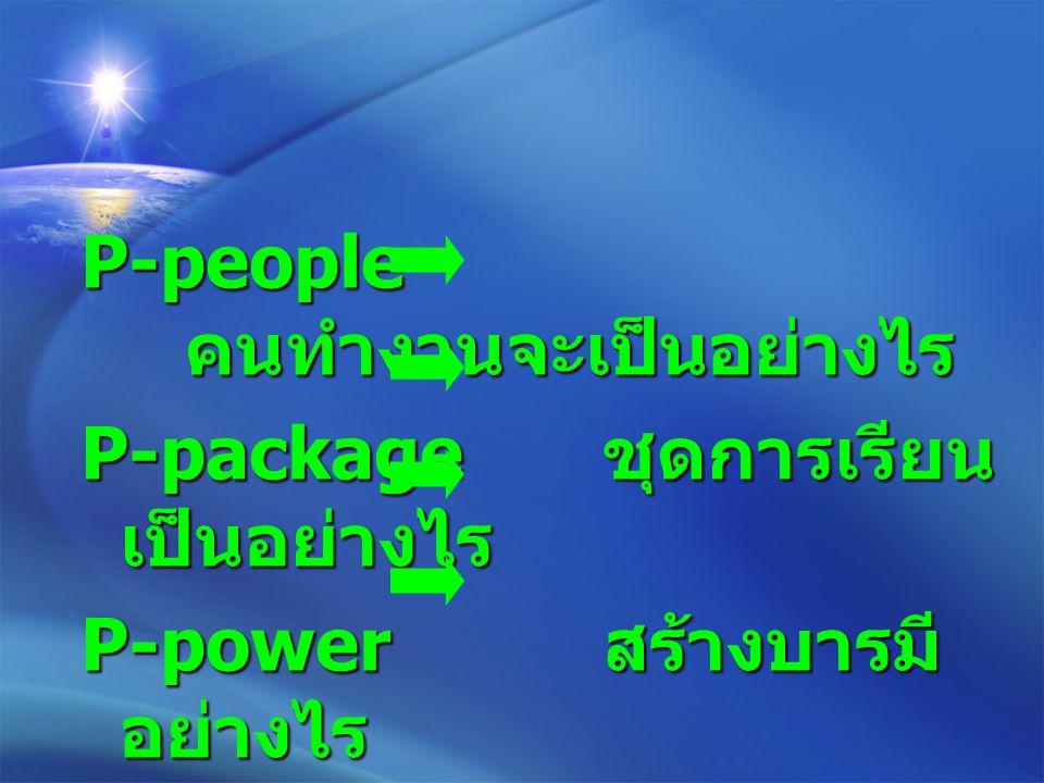 P-people คนทำงานจะเป็นอย่างไร P-package ชุดการเรียน เป็นอย่างไร P-power สร้างบารมี อย่างไร P-positioning จะลง ตำแหน่งอย่างไร