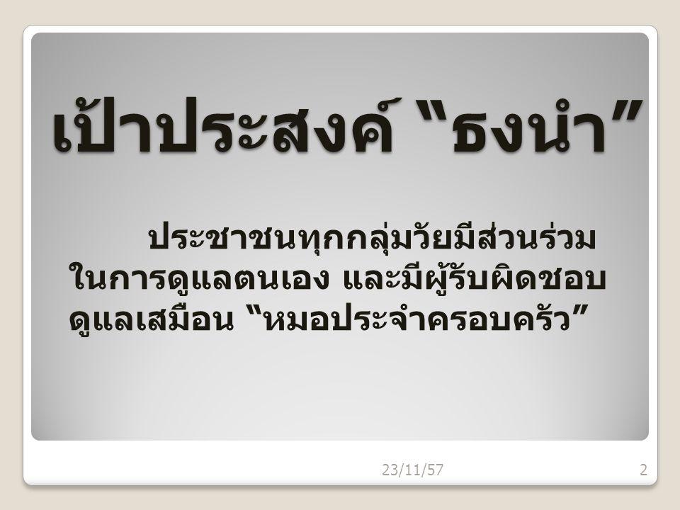 """เป้าประสงค์ """"ธงนำ"""" ประชาชนทุกกลุ่มวัยมีส่วนร่วม ในการดูแลตนเอง และมีผู้รับผิดชอบ ดูแลเสมือน """"หมอประจำครอบครัว"""" 23/11/572"""