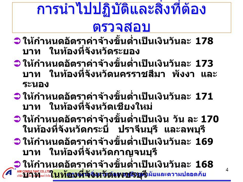 กฎหมายสิ่งแวดล้อม อาชีวอนามัยและความปลอดภัย 4 การนำไปปฏิบัติและสิ่งที่ต้อง ตรวจสอบ  ใหกําหนดอัตราคาจางขั้นต่ำเปนเงินวันละ 178 บาท ในทองที่จังหวัดระยอง  ใหกําหนดอัตราคาจางขั้นต่ำเปนเงินวันละ 173 บาท ในทองที่จังหวัดนครราชสีมา พังงา และ ระนอง  ใหกําหนดอัตราคาจางขั้นต่ำเปนเงินวันละ 171 บาท ในทองที่จังหวัดเชียงใหม  ใหกําหนดอัตราคาจางขั้นต่ำเปนเงิน วัน ละ 170 ในทองที่จังหวัดกระบี่ ปราจีนบุรี และลพบุรี  ใหกําหนดอัตราคาจางขั้นต่ำเปนเงินวันละ 169 บาท ในทองที่จังหวัดกาญจนบุรี  ใหกําหนดอัตราคาจางขั้นต่ำเปนเงินวันละ 168 บาท ในทองที่จังหวัดเพชรบุรี