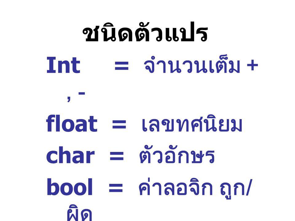 ชนิดตัวแปร Int = จำนวนเต็ม +, - float = เลขทศนิยม char = ตัวอักษร bool = ค่าลอจิก ถูก / ผิด
