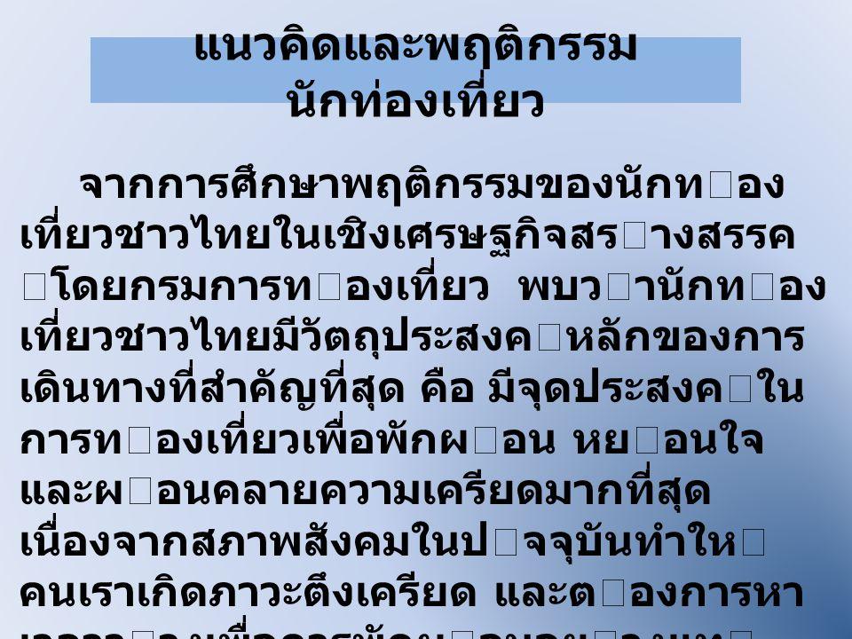 แนวคิดและพฤติกรรม นักท่องเที่ยว จากการศึกษาพฤติกรรมของนักทอง เที่ยวชาวไทยในเชิงเศรษฐกิจสรางสรรค โดยกรมการทองเที่ยว พบวานักทอง เที่ยวชาวไทยมีวัตถ