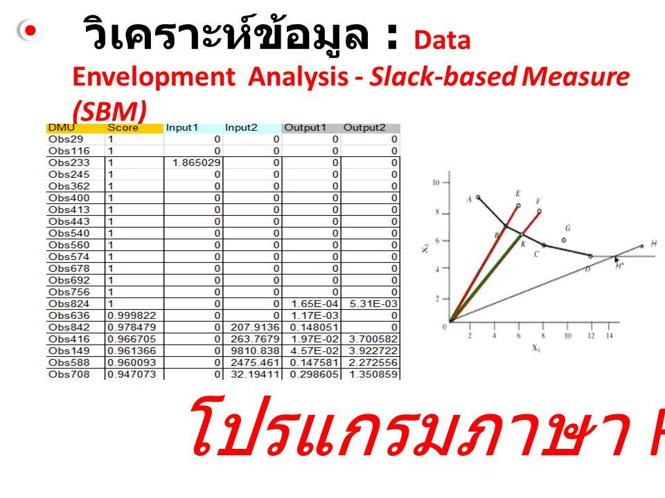 วิเคราะห์ข้อมูล : Data Envelopment Analysis - Slack-based Measure (SBM) โปรแกรมภาษา R