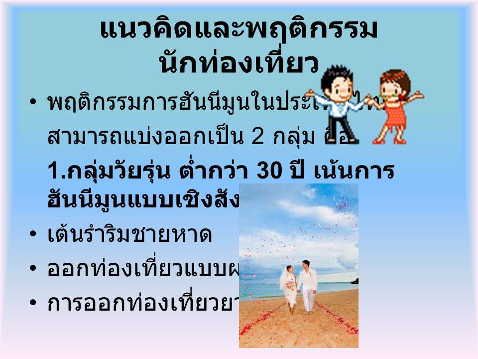 แนวคิดและพฤติกรรม นักท่องเที่ยว พฤติกรรมการฮันนีมูนในประเทศไทย สามารถแบ่งออกเป็น 2 กลุ่ม คือ 1. กลุ่มวัยรุ่น ต่ำกว่า 30 ปี เน้นการ ฮันนีมูนแบบเชิงสังส