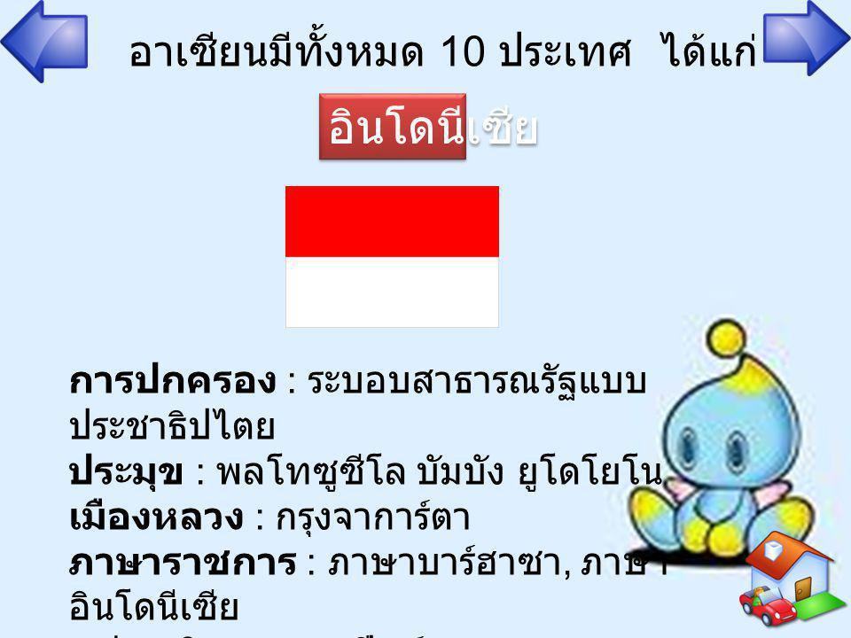 อาเซียนมีทั้งหมด 10 ประเทศ ได้แก่ อินโดนีเซีย การปกครอง : ระบอบสาธารณรัฐแบบ ประชาธิปไตย ประมุข : พลโทซูซีโล บัมบัง ยูโดโยโน เมืองหลวง : กรุงจาการ์ตา ภ