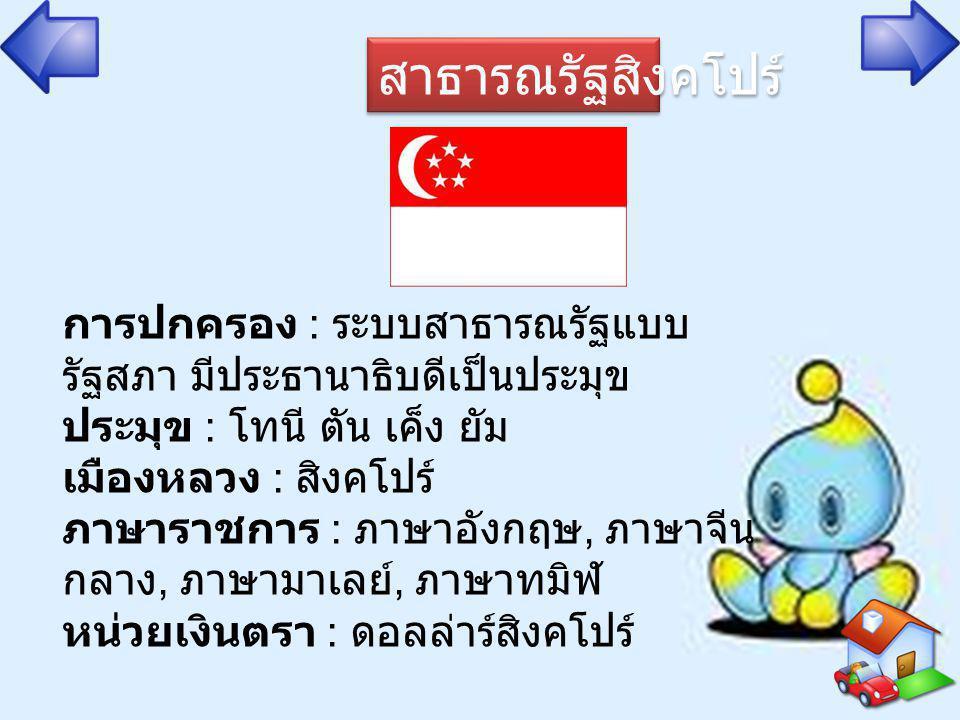 สาธารณรัฐสิงคโปร์ การปกครอง : ระบบสาธารณรัฐแบบ รัฐสภา มีประธานาธิบดีเป็นประมุข ประมุข : โทนี ตัน เค็ง ยัม เมืองหลวง : สิงคโปร์ ภาษาราชการ : ภาษาอังกฤษ