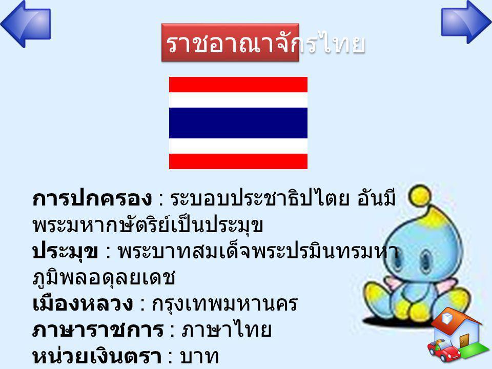 ราชอาณาจักรไทย การปกครอง : ระบอบประชาธิปไตย อันมี พระมหากษัตริย์เป็นประมุข ประมุข : พระบาทสมเด็จพระปรมินทรมหา ภูมิพลอดุลยเดช เมืองหลวง : กรุงเทพมหานคร