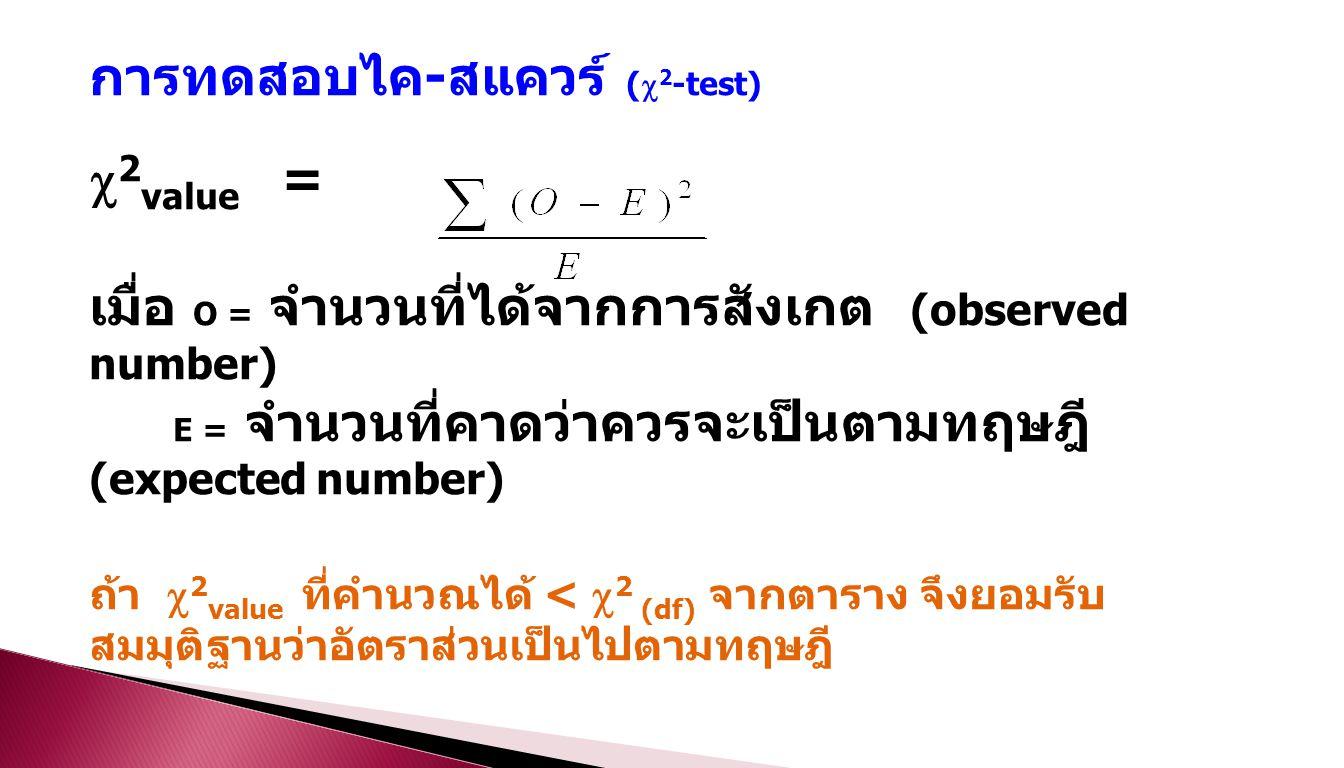 การทดสอบไค - สแควร์ (  2 -test)  2 value = เมื่อ O = จำนวนที่ได้จากการสังเกต (observed number) E = จำนวนที่คาดว่าควรจะเป็นตามทฤษฎี (expected number) ถ้า  2 value ที่คำนวณได้ <  2 (df) จากตาราง จึงยอมรับ สมมุติฐานว่าอัตราส่วนเป็นไปตามทฤษฎี