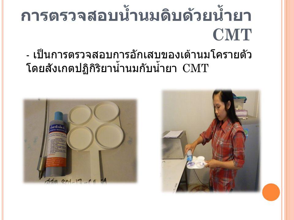 การตรวจสอบน้ำนมดิบด้วยน้ำยา CMT - เป็นการตรวจสอบการอักเสบของเต้านมโครายตัว โดยสังเกตปฏิกิริยาน้ำนมกับน้ำยา CMT