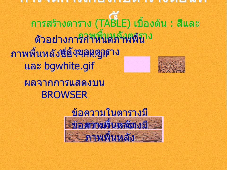 การจัดการเกี่ยวกับตารางตอนที่ ๕ การสร้างตาราง (TABLE) เบื้องต้น : สีและ ภาพพื้นหลังตาราง ภาพพื้นหลังชื่อ Pink.gif และ bgwhite.gif ตัวอย่างการกำหนดภาพพื้น หลังของตาราง ผลจากการแสดงบน BROWSER ข้อความในตารางมี ภาพพื้นหลัง