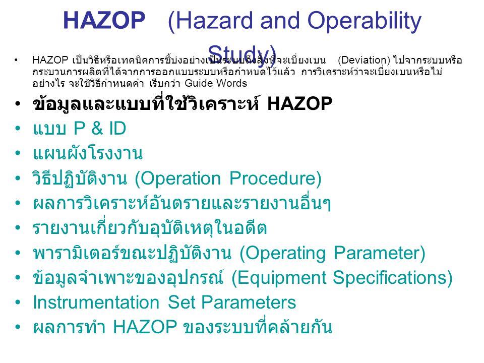 HAZOP (Hazard and Operability Study) HAZOP เป็นวิธีหรือเทคนิคการชี้บ่งอย่างเป็นระบบถึงสิ่งที่จะเบี่ยงเบน (Deviation) ไปจากระบบหรือ กระบวนการผลิตที่ได้