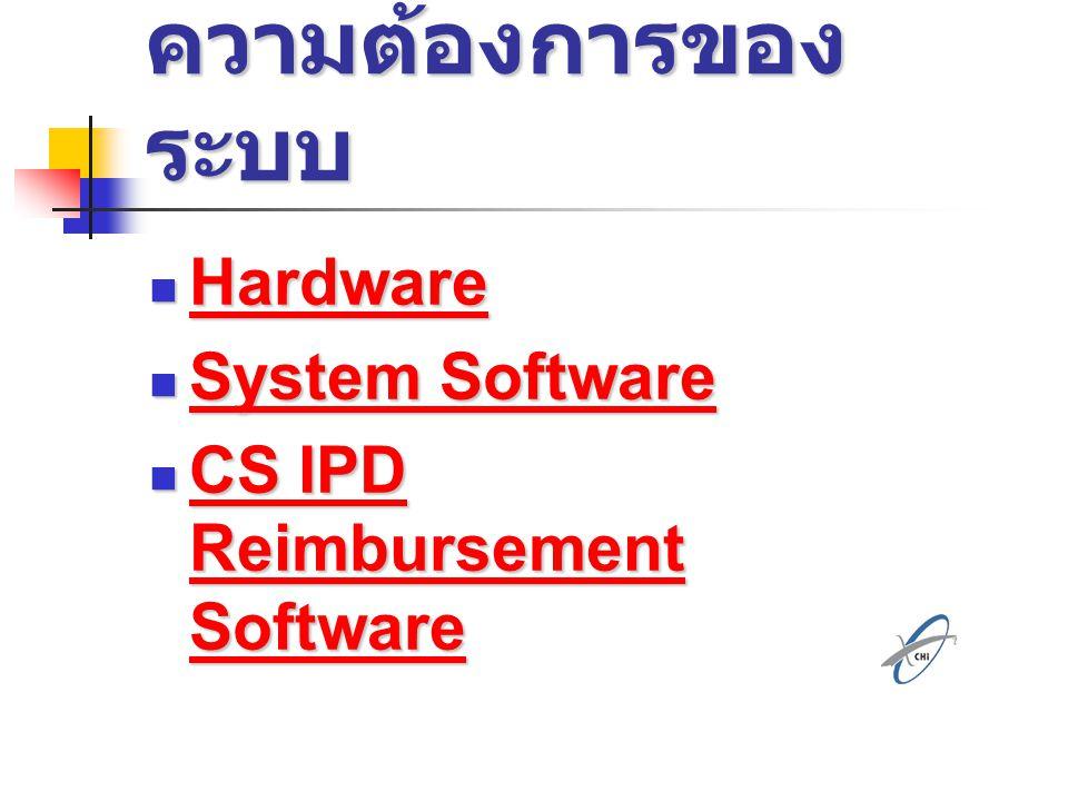 ความต้องการของ ระบบ Hardware Hardware Hardware System Software System Software System Software System Software CS IPD Reimbursement Software CS IPD Re