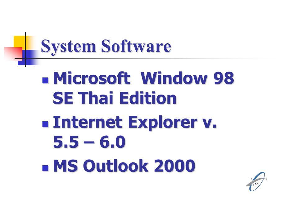 System Software Microsoft Window 98 SE Thai Edition Microsoft Window 98 SE Thai Edition Internet Explorer v. 5.5 – 6.0 Internet Explorer v. 5.5 – 6.0