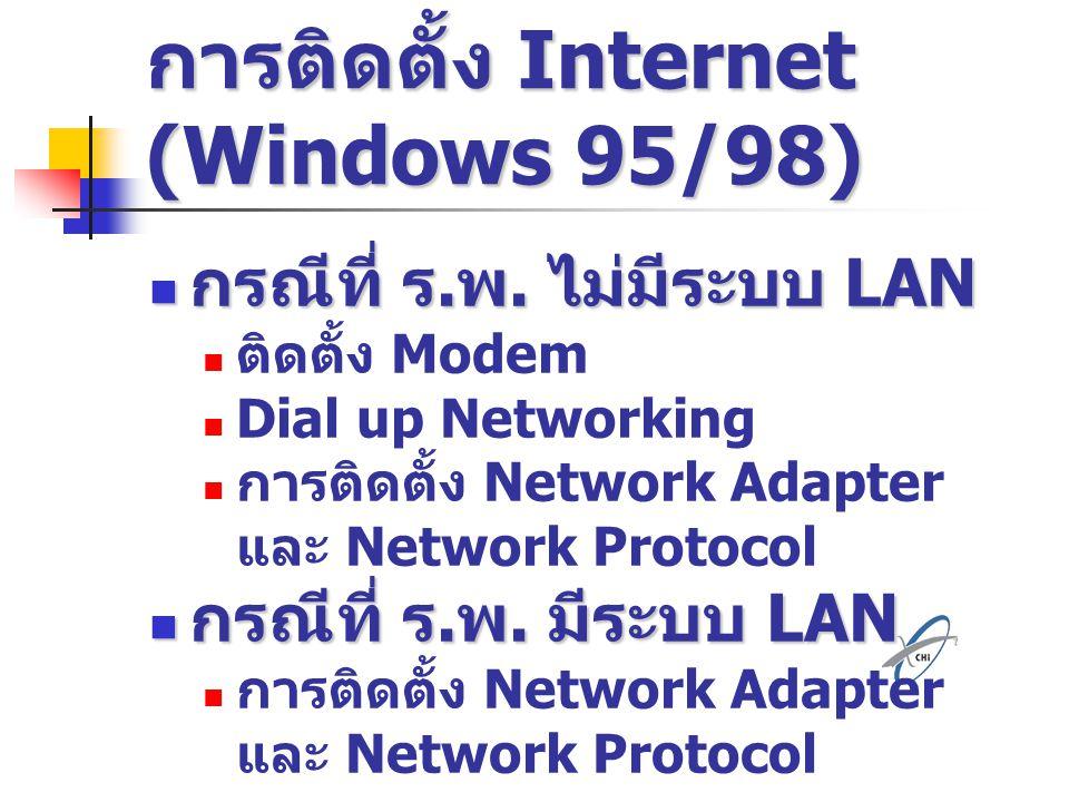 การติดตั้ง Internet (Windows 95/98) กรณีที่ ร. พ. ไม่มีระบบ LAN กรณีที่ ร. พ. ไม่มีระบบ LAN ติดตั้ง Modem Dial up Networking การติดตั้ง Network Adapte