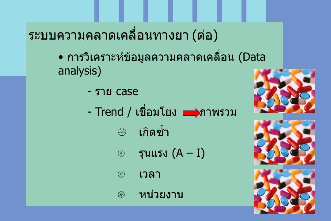 ระบบความคลาดเคลื่อนทางยา (ต่อ) การวิเคราะห์ข้อมูลความคลาดเคลื่อน (Data analysis) - ราย case - Trend / เชื่อมโยง ภาพรวม  เกิดซ้ำ  รุนแรง (A – I)  เวลา  หน่วยงาน