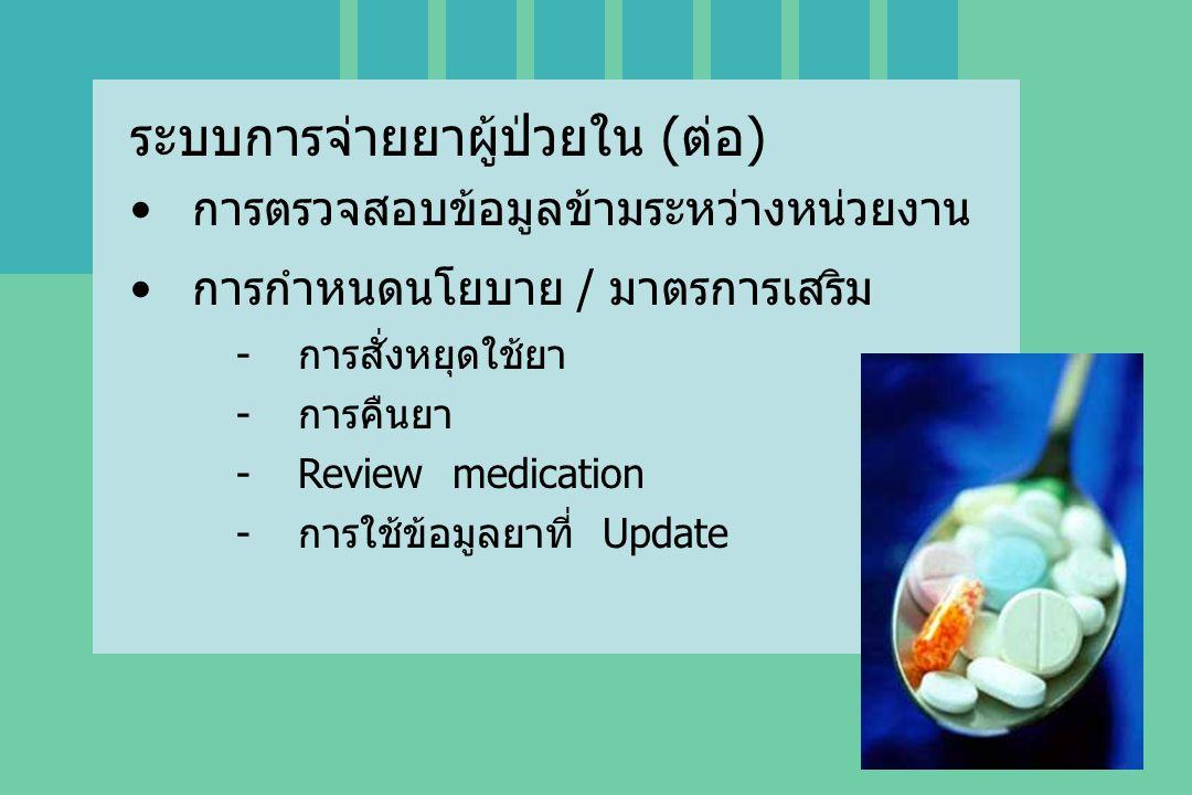 ระบบการจ่ายยาผู้ป่วยใน (ต่อ) การตรวจสอบข้อมูลข้ามระหว่างหน่วยงาน การกำหนดนโยบาย / มาตรการเสริม -การสั่งหยุดใช้ยา -การคืนยา -Review medication -การใช้ข้อมูลยาที่ Update