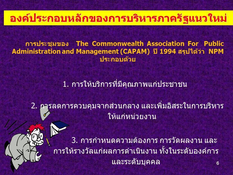 6 องค์ประกอบหลักของการบริหารภาครัฐแนวใหม่ การประชุมของ The Commonwealth Association For Public Administration and Management (CAPAM) ปี 1994 สรุปได้ว่