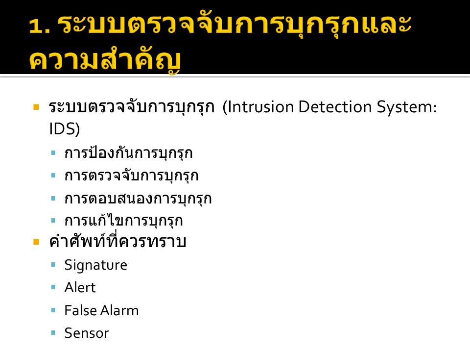  ระบบตรวจจับการบุกรุก (Intrusion Detection System: IDS)  การป้องกันการบุกรุก  การตรวจจับการบุกรุก  การตอบสนองการบุกรุก  การแก้ไขการบุกรุก  คำศัพท์ที่ควรทราบ  Signature  Alert  False Alarm  Sensor