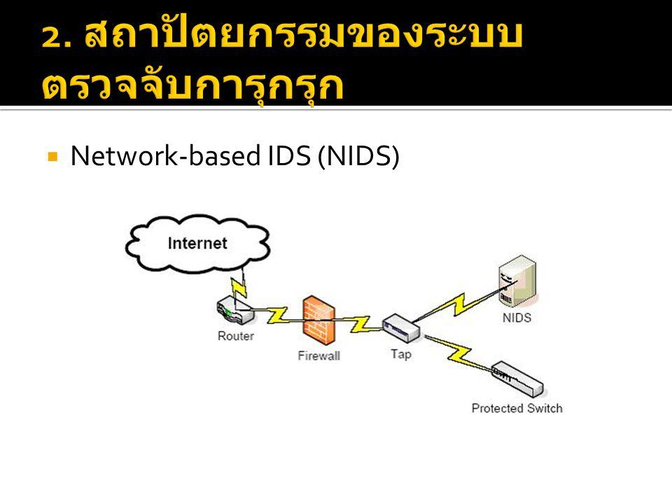  ข้อดี  หากมีการการออกแบบระบบเครือข่ายที่มีการติดตั้ง ระบบ NIDS ที่ดี จะทำให้องค์กร สามารถตรวจจับ การบุกรุกของการจราจรในเครือข่ายขนาดใหญ่ได้ โดยใช้อุปกรณ์จำนวนน้อย  ติดตั้งง่าย  ไม่เป็นที่สังเกตของผู้โจมตี