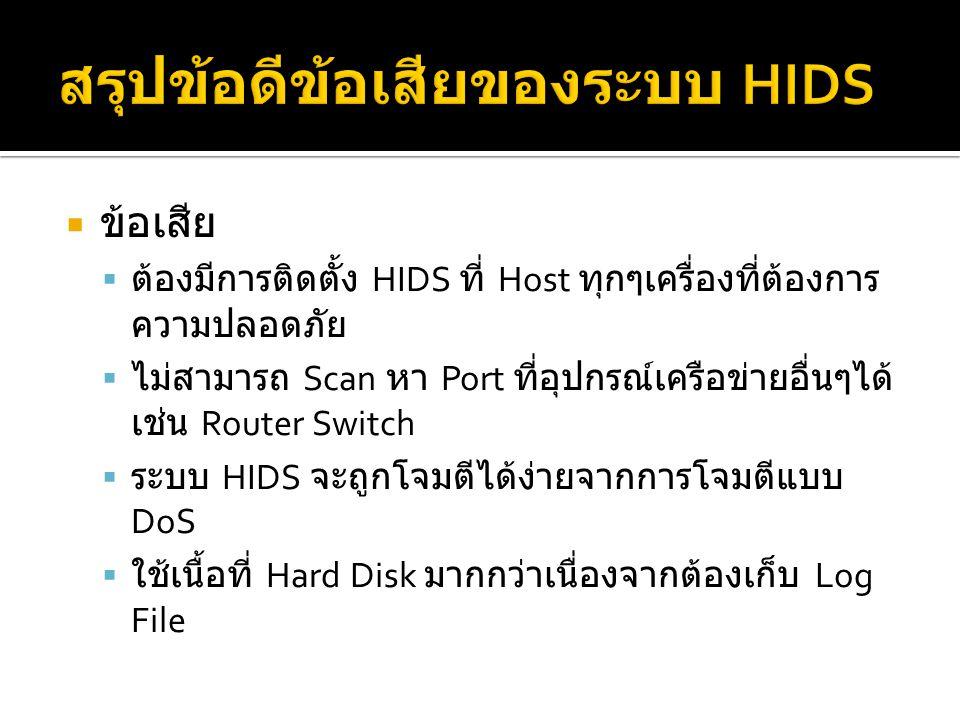  ข้อเสีย  ต้องมีการติดตั้ง HIDS ที่ Host ทุกๆเครื่องที่ต้องการ ความปลอดภัย  ไม่สามารถ Scan หา Port ที่อุปกรณ์เครือข่ายอื่นๆได้ เช่น Router Switch  ระบบ HIDS จะถูกโจมตีได้ง่ายจากการโจมตีแบบ DoS  ใช้เนื้อที่ Hard Disk มากกว่าเนื่องจากต้องเก็บ Log File